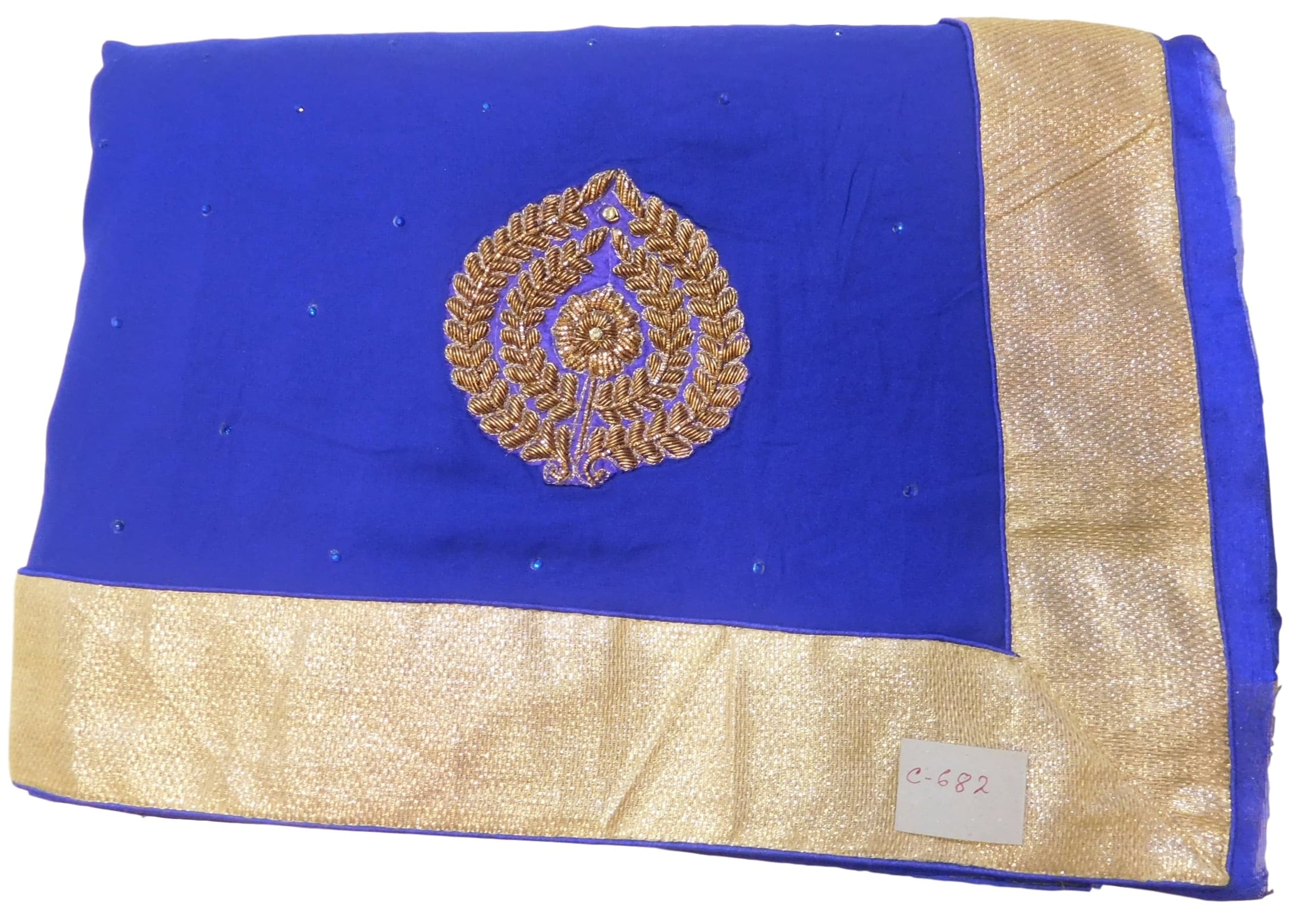 Blue Designer Georgette (Viscos) Hand Embroidery Bullion Zari Stone Work Saree Sari
