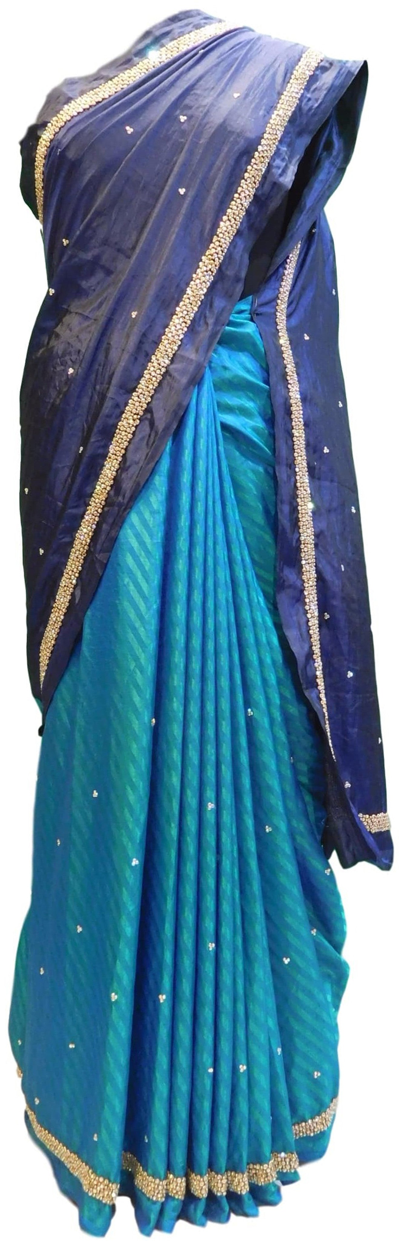 Blue Designer Silk Sari Stone Hand Embroidery Work Saree
