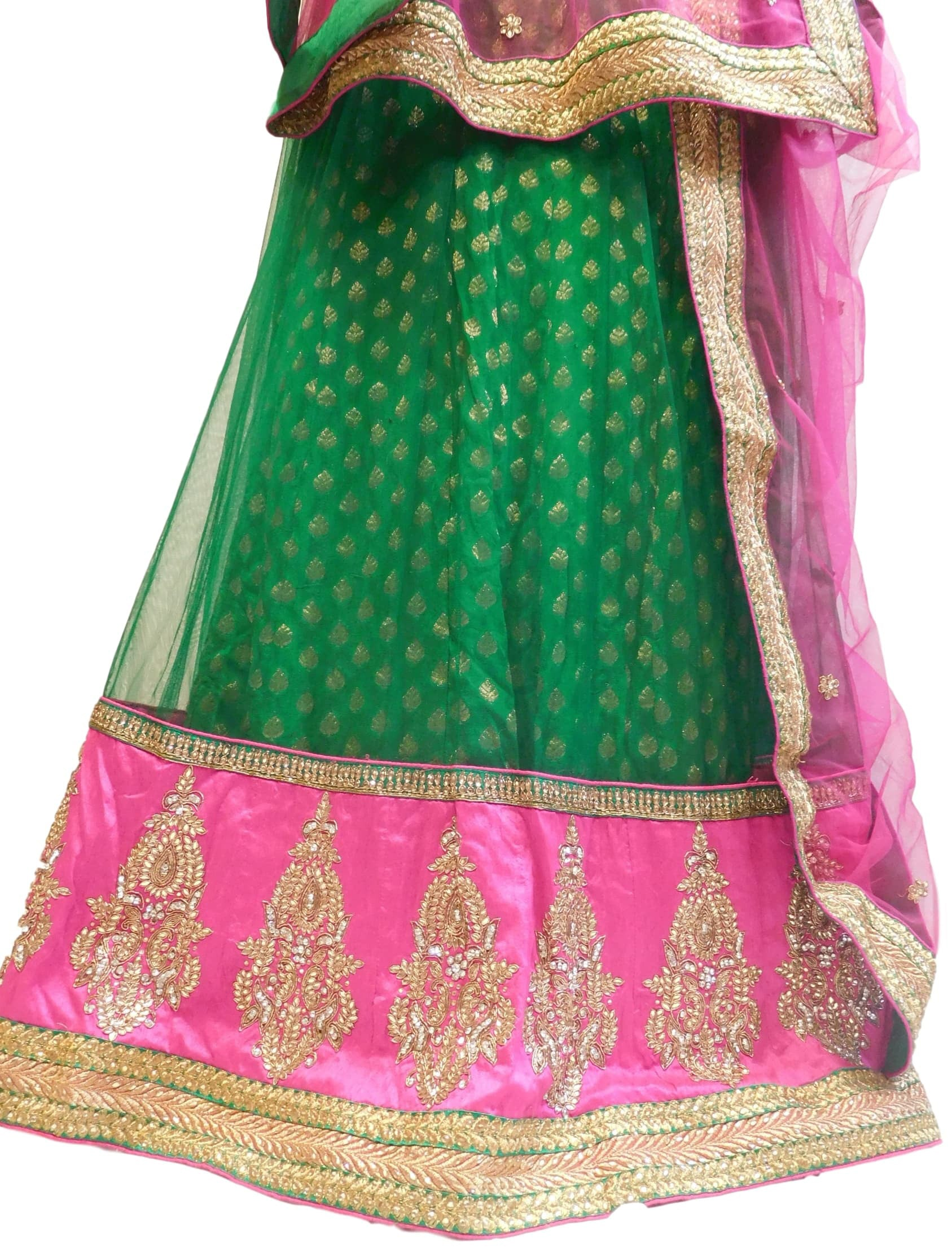 Green & Pink Designer Bridal Hand Embroidery Work Lahenga With Net Dupatta & Silk Blouse
