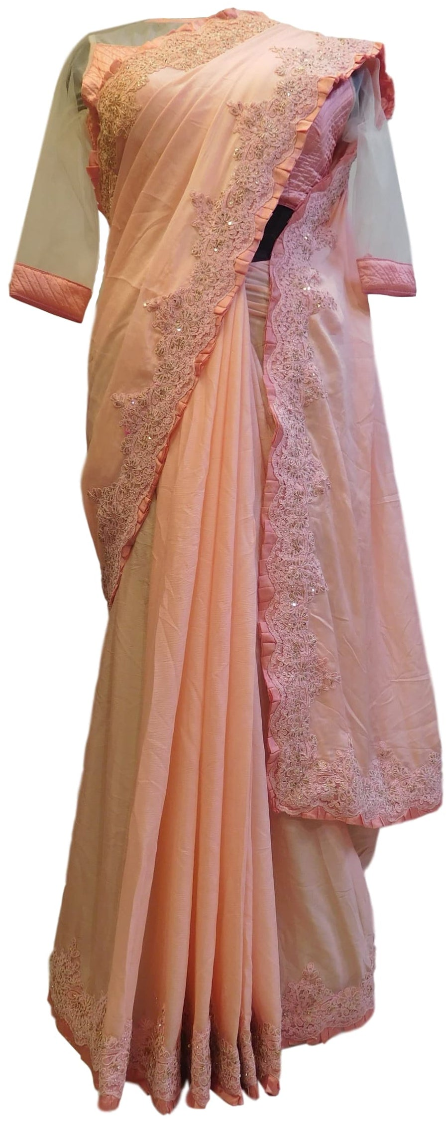 Baby Pink Designer Crepe (Chinon) Hand Embroidery Cutdana Sequence Thread Stone Work Saree Sari With Stylsih Stitched Satin Blouse