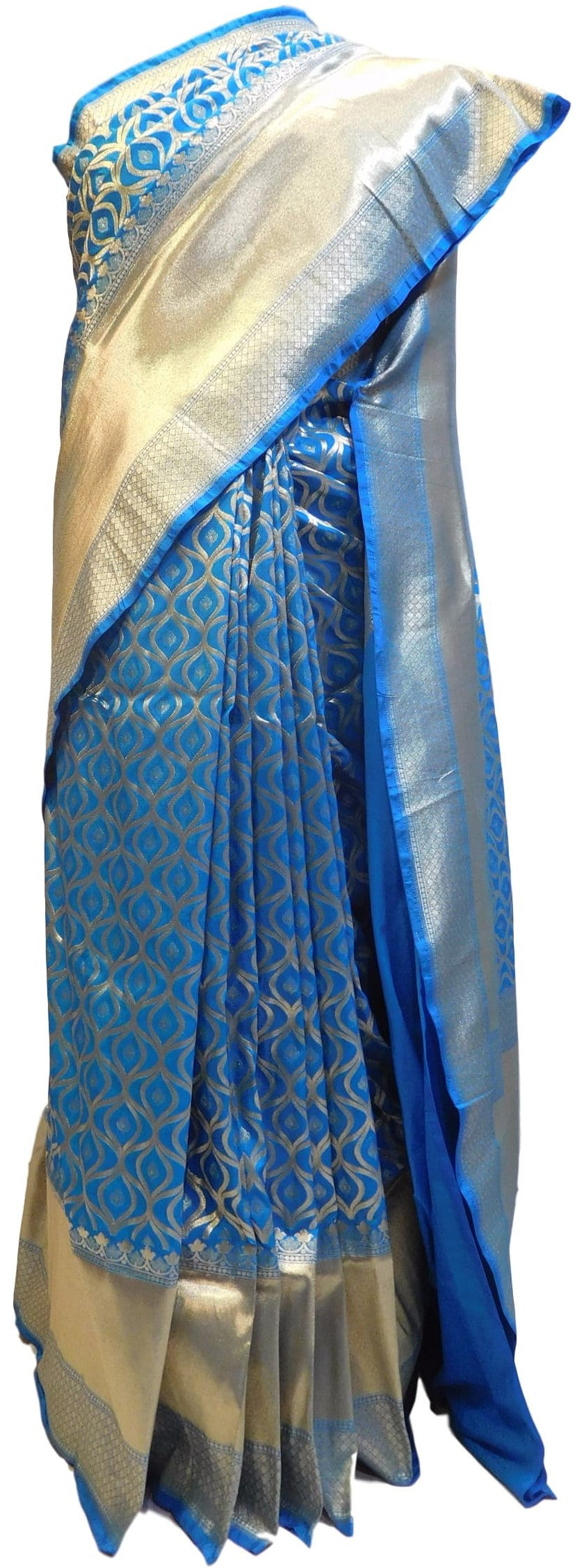Blue Traditional Designer Bridal Hand Weaven Pure Benarasi Zari Work Saree Sari With Blouse