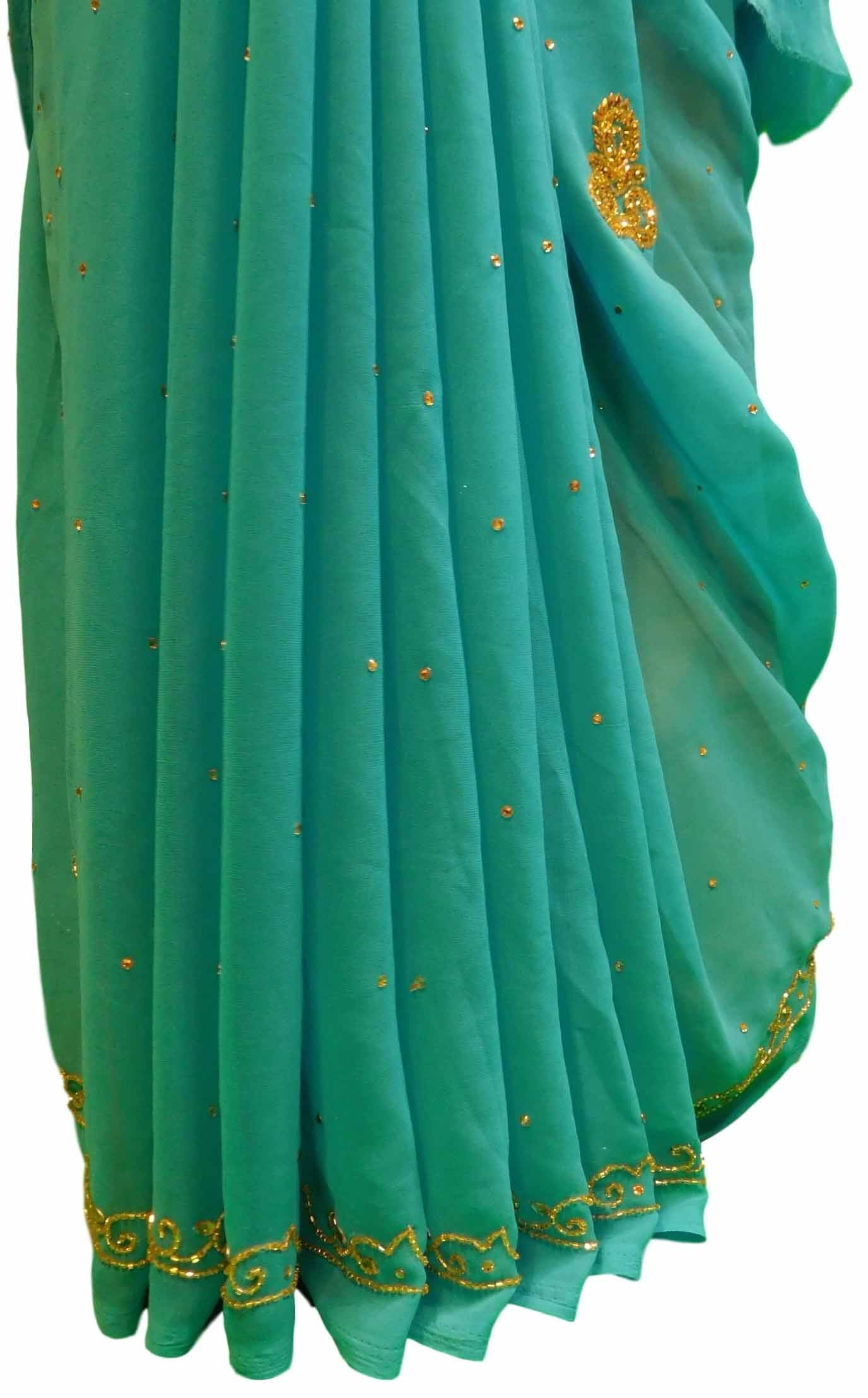Blue Designer Georgette Sari Zari, Cutdana Thread Embroidery Work Saree