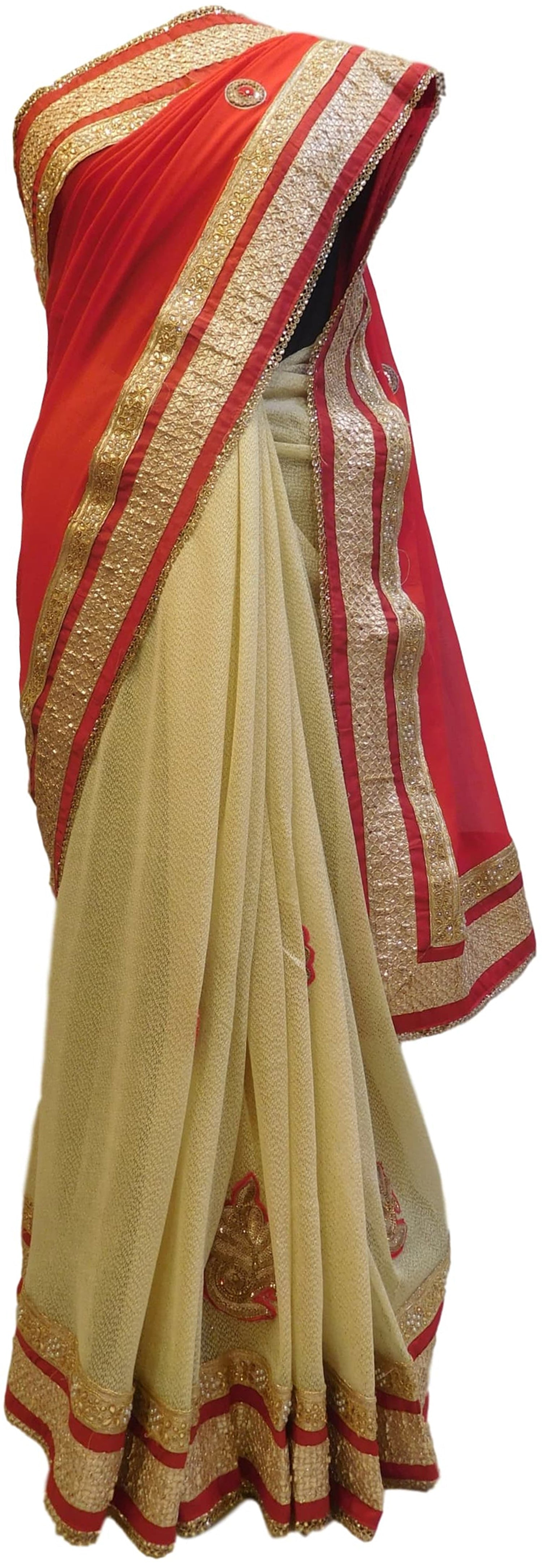 Red & Cream Designer Georgette (Viscos) Hand Embroidery Zari Pearl Stone Work Saree Sari