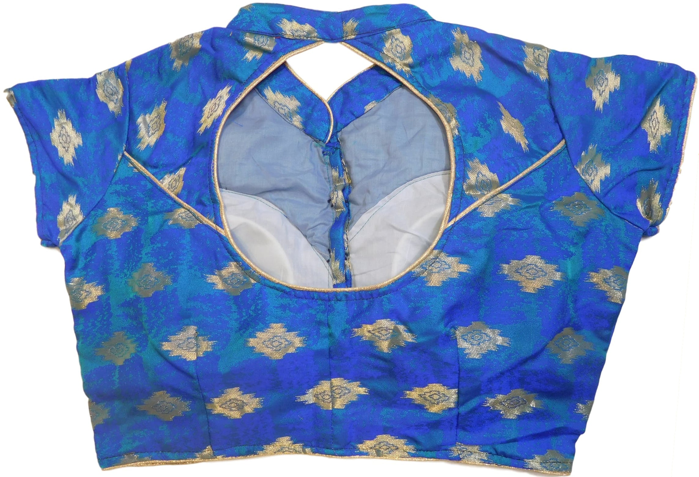 Blue Designer Silk Hand Embroidery Self Weaved Zari Work Ready To Wear Blouse