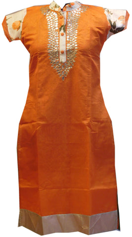Orange White Designer Cotton (Chanderi) Kurti