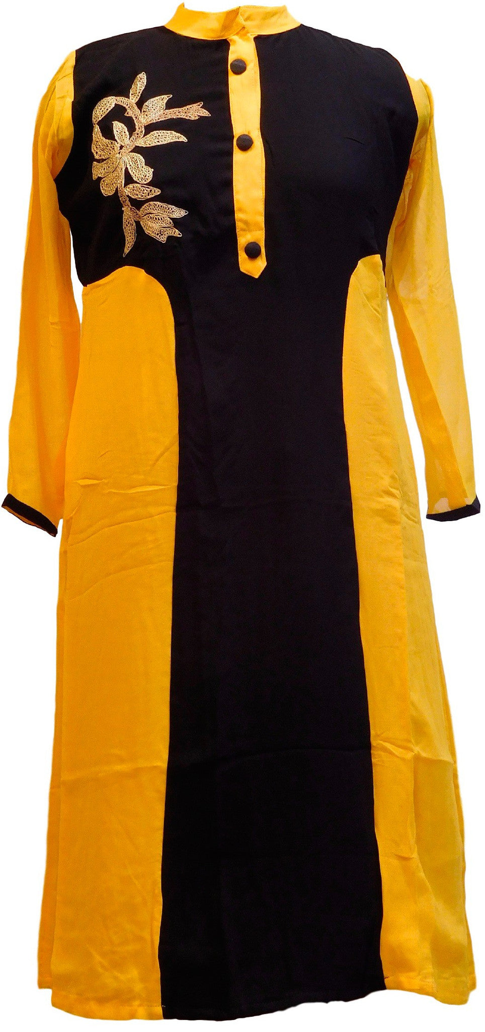 Yellow & Black Designer Georgette Kurti