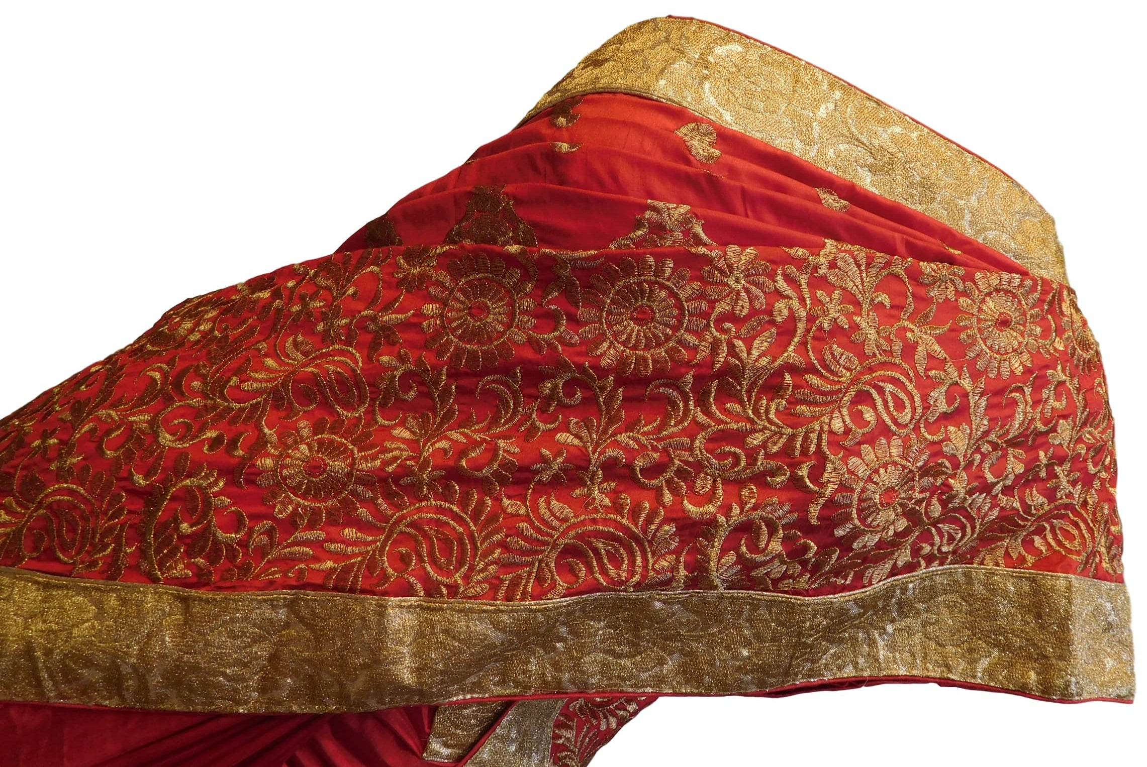 Red Designer Silk Hand Embroidery Thread Zari Work Saree Sari
