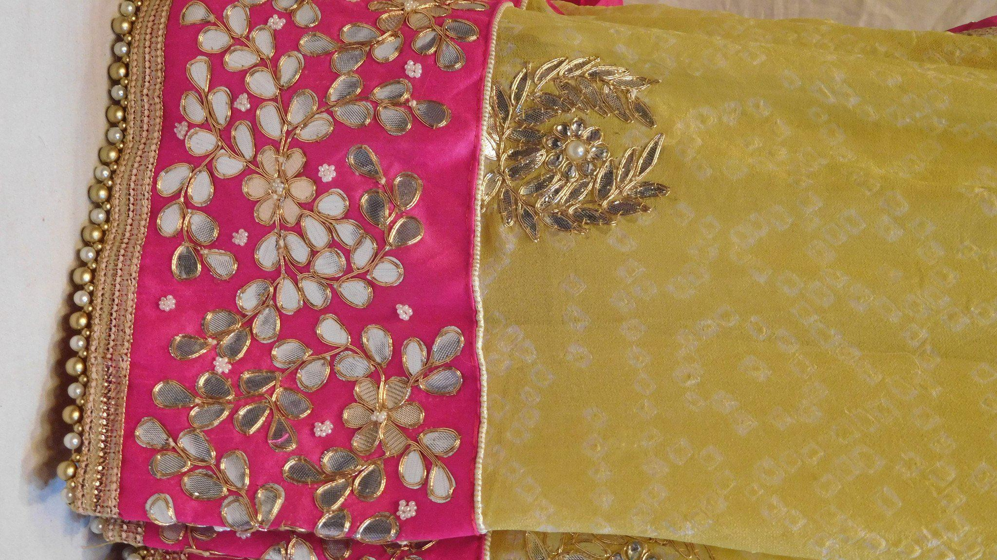 Yellow Chunari Designer Pure Georgette Gota Work Saree