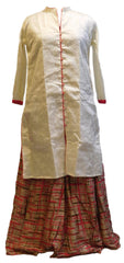 Cream Designer Silk (Dupion) Kurti With Detachble Skirt