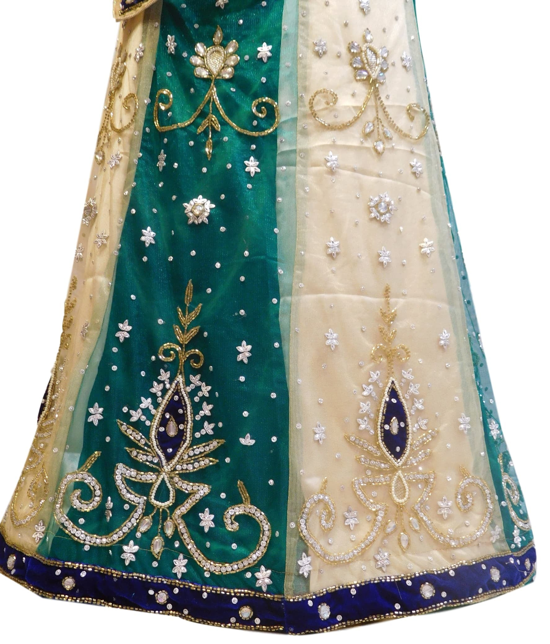 Cream & Green Designer Kids (10-18 Years) Lahenga Hand Embroidery Work Net Lahenga With Net Dupatta & Net Blouse