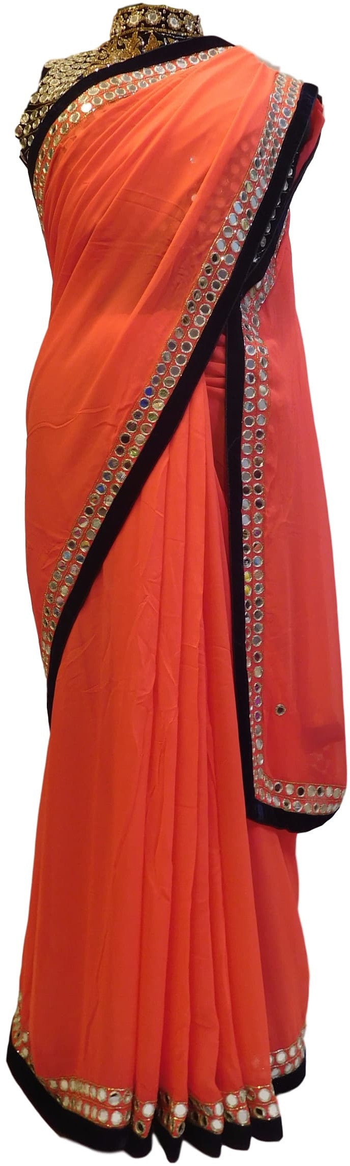 Gajari Boutique Mirror Border Work Sari Saree With Heavy Designer Blouse