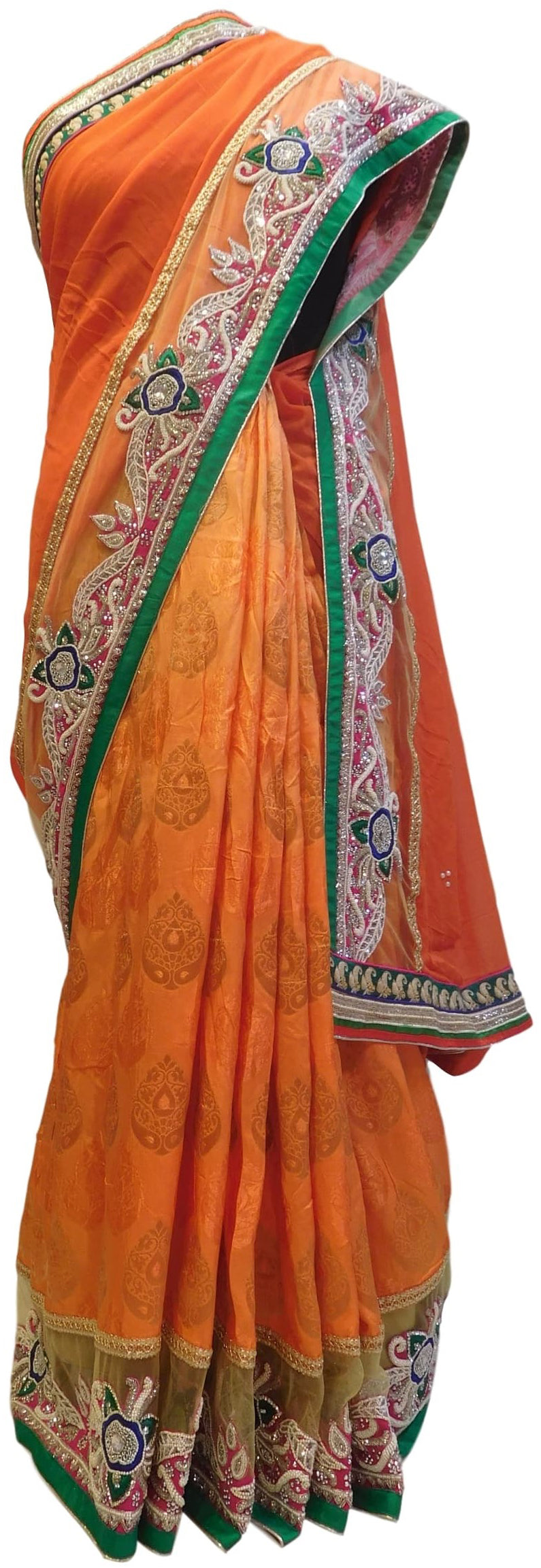 Orange Designer Georgette (Viscos) & Pure Banarasi Hand Embroidery Work Half Half Saree Sari