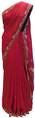 Merron Designer Gerogette (Synthetic) Hand Embroidery Stone Border Sari Saree