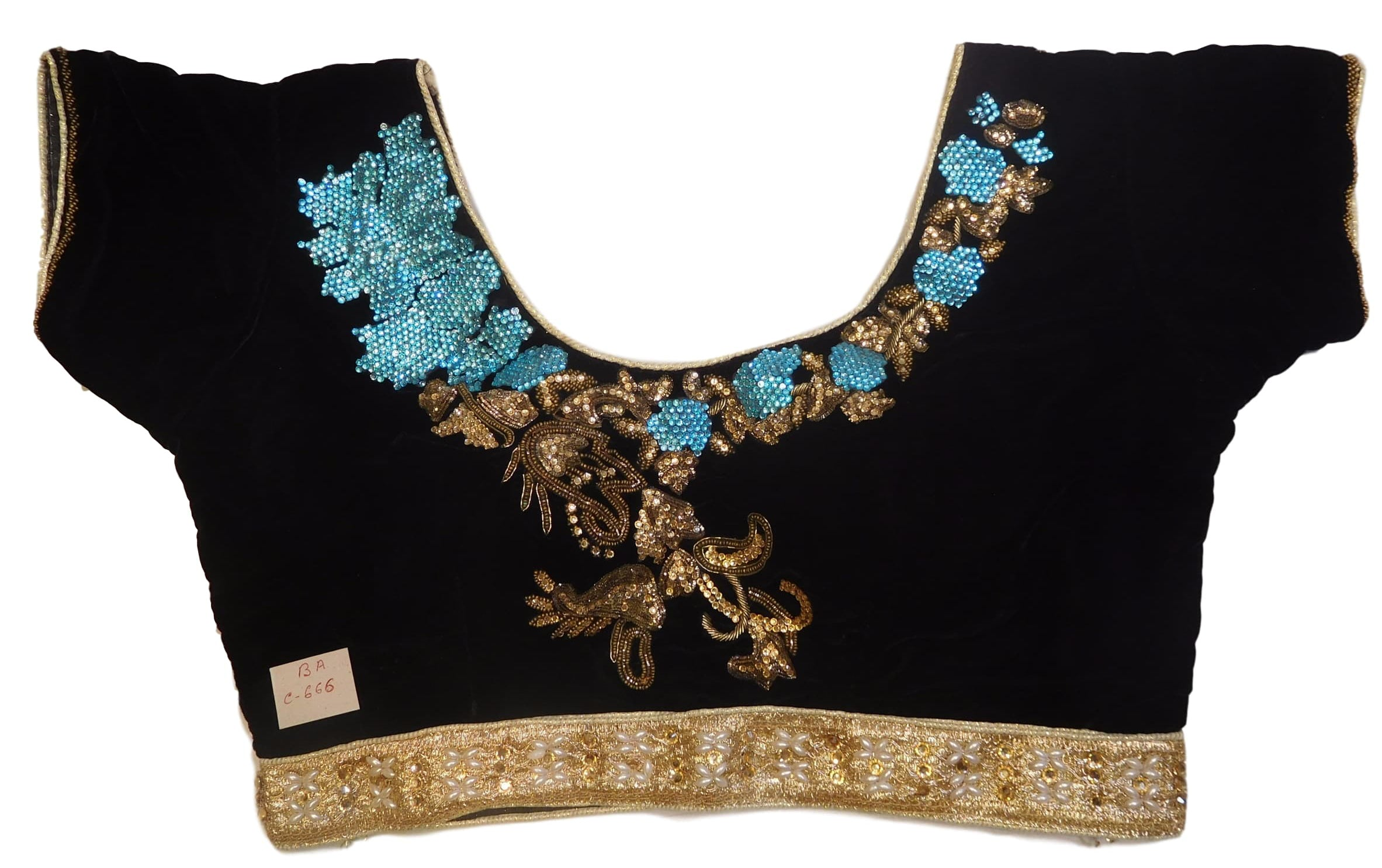 026976509342e9 Black Golden Designer Velvet Hand Embroidery Stone Bullion Beads Pearl –  smsaree