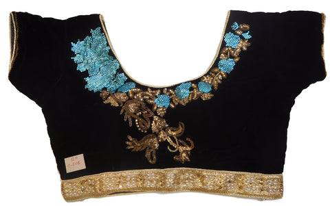 Black Golden Designer Velvet Hand Embroidery Stone Bullion Beads Pearl Zari Work Ready To Wear Stitched Blouse