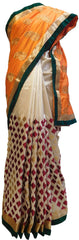 Orange & White Designer Silk Hand Embroidery Thread Zari Work Saree Sari