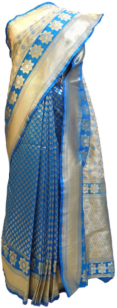 Blue & Cream Designer Bridal Hand Weaven Pure Benarasi Zari Work Saree Sari With Blouse