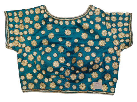 Turquoise Designer Silk Hand Embroidery Stone Thread Bullion Pearl Zari Work Ready To Wear Stitched Blouse