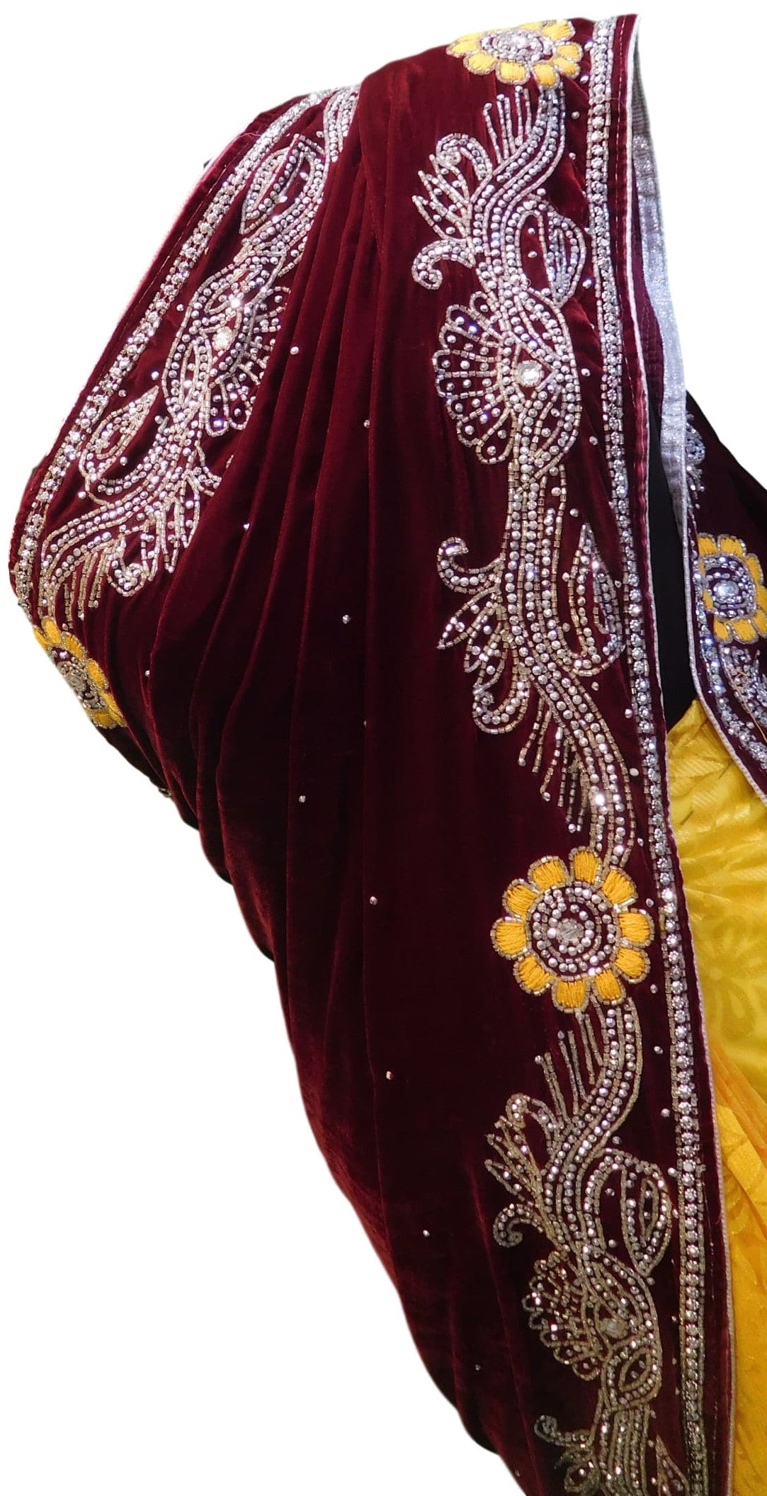 Merron & Yellow Designer Velvet & Brasso Hand Embroidery Saree Sari With Velvet Blouse