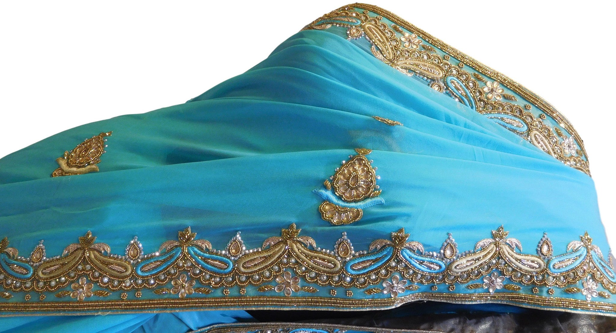 Turquoise Designer Georgette With Cutdana, Stone Work Border Saree