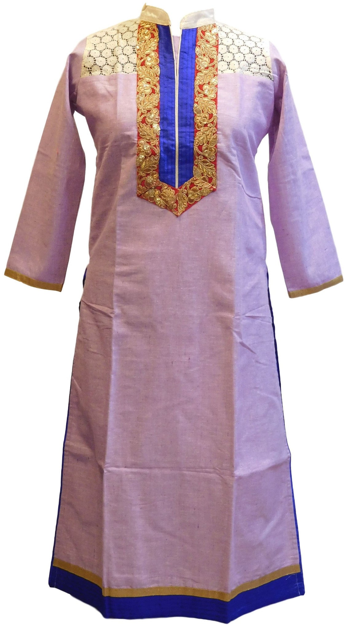 Violet Designer Cotton (Chanderi) Kurti With Yellow Taping