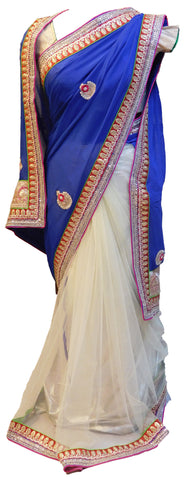 Blue & Cream Designer Saree
