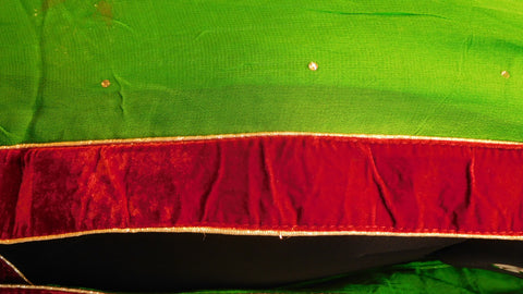 Green Designer Saree With Velvet Border