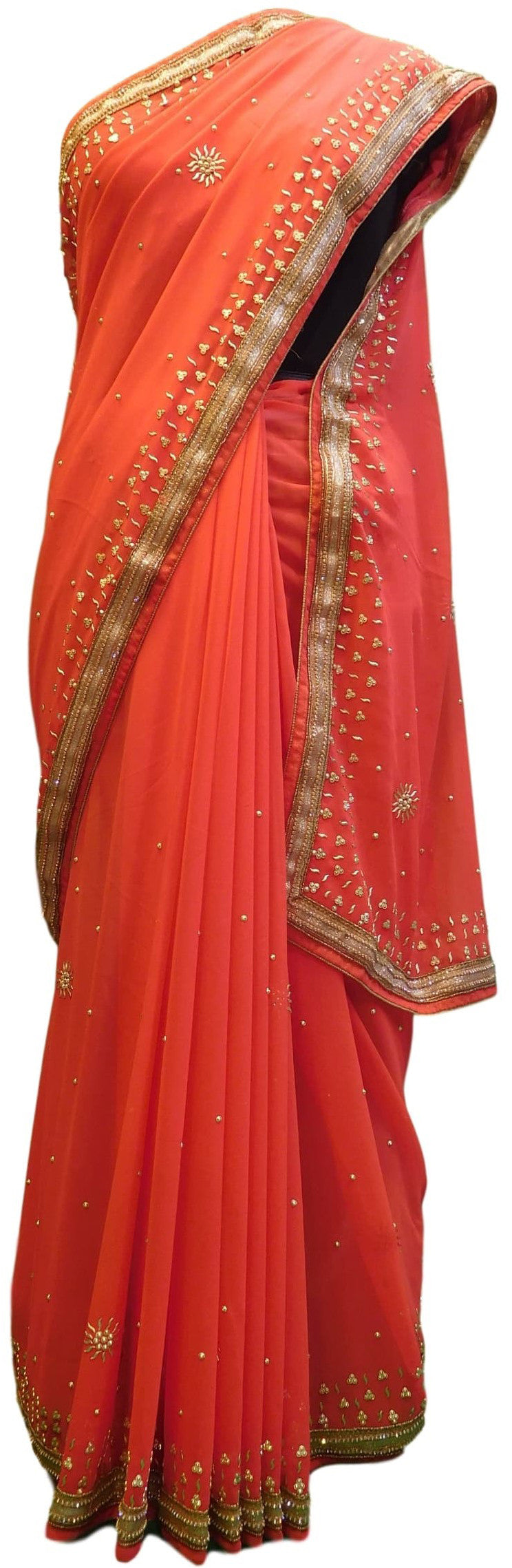 Gajari Designer Gerogette (Synthetic) Hand Embroidery Stone Border Sari Saree
