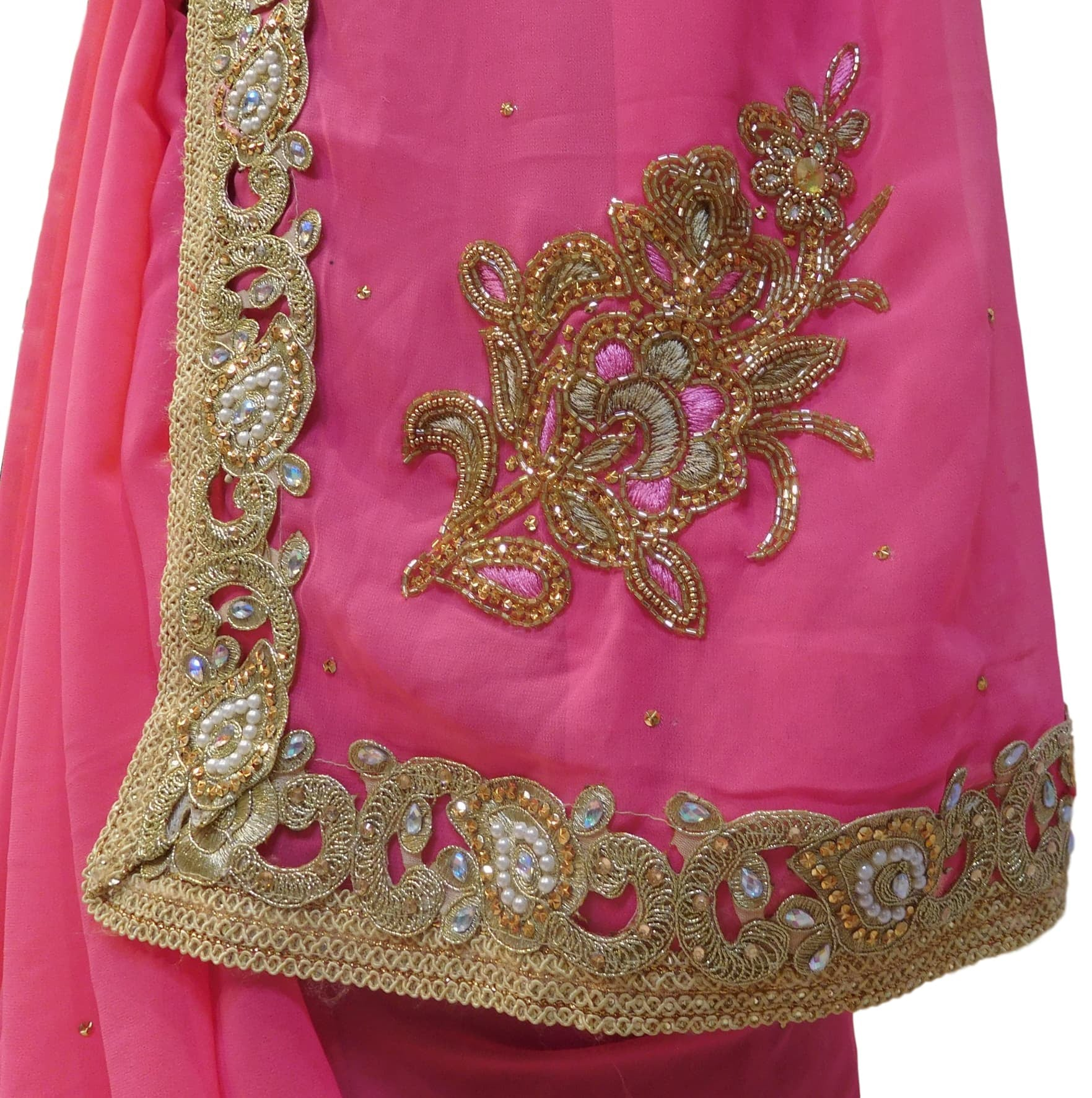 Pink Designer Georgette Hand Embroidery Zari Pearl Cutdana Beads Thread Stone Work Saree Sari