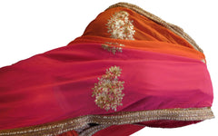 Orange & Pink Designer Georgette (Viscos) Hand Embroidery Zari Cutdana Pearl Work Saree Sari