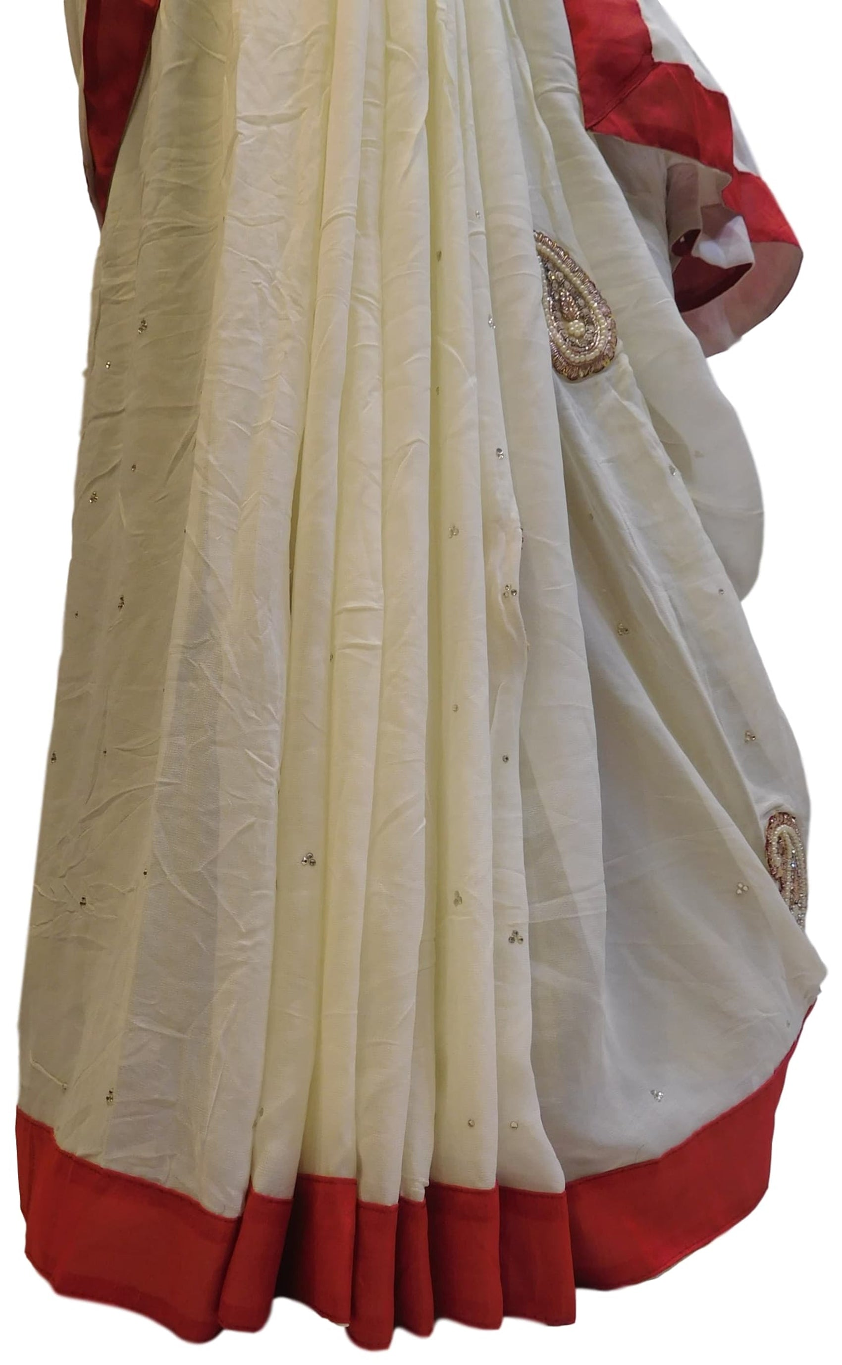 White Designer Georgette (Viscos) Hand Embroidery Pearl Beads Thread Stone Bullion Sequence Work Saree Sari