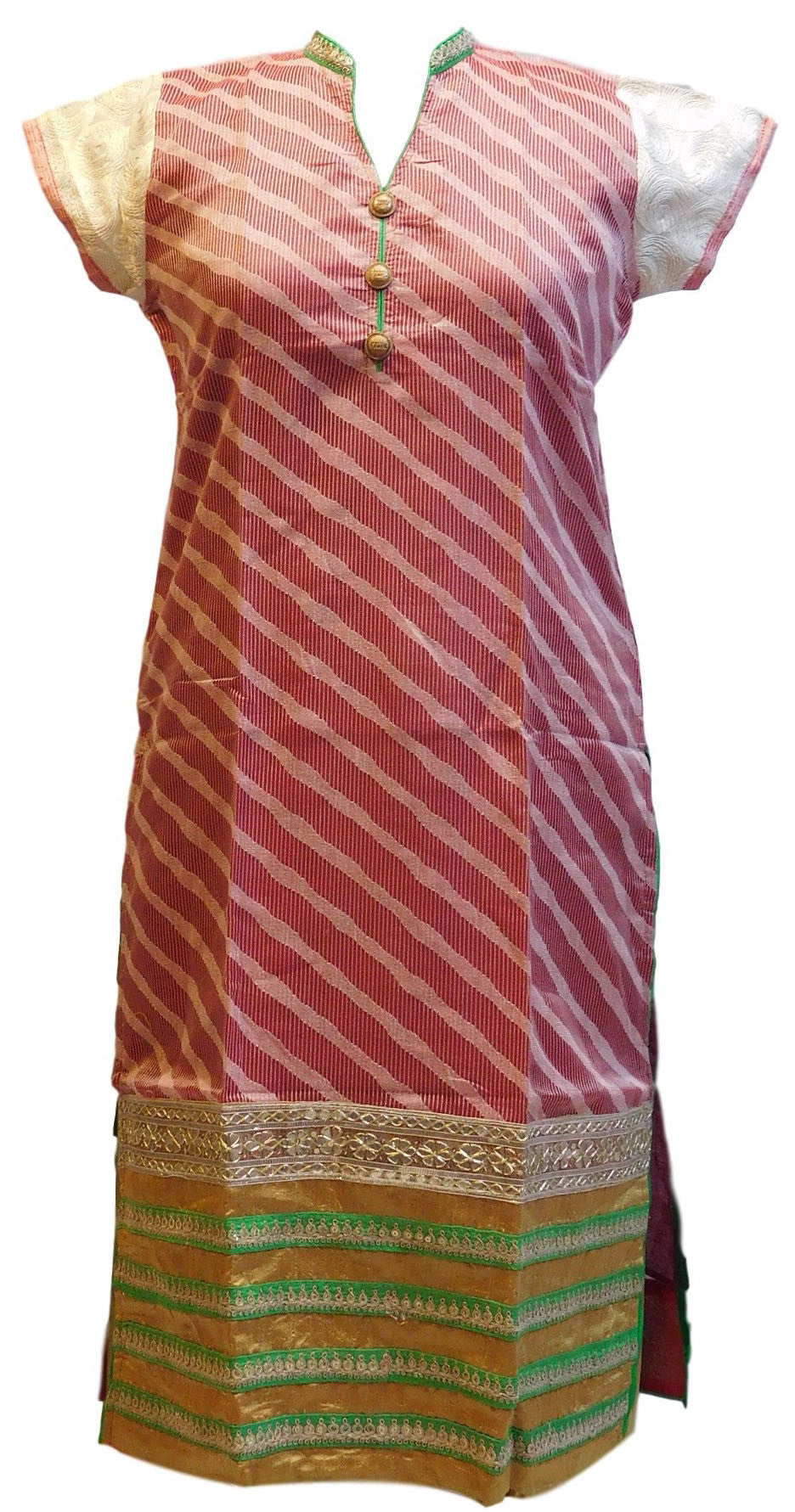 Gajari & Cream Designer Cotton (Supernet) Kurti