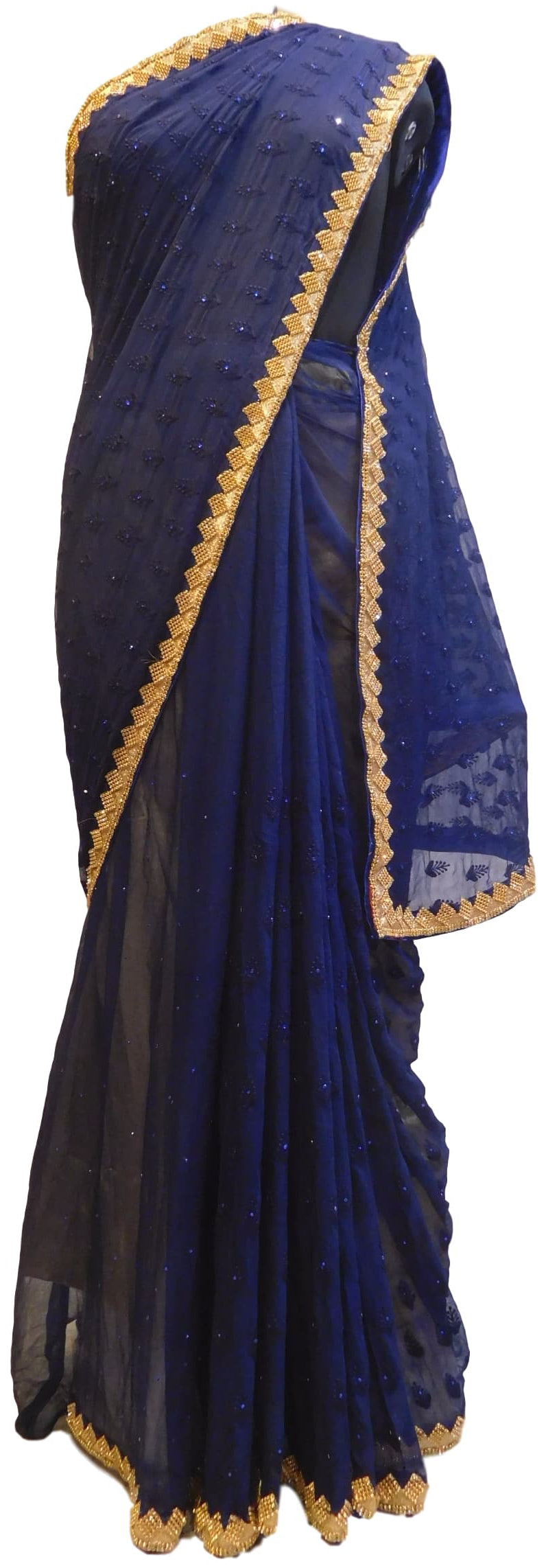 Blue Designer Pure Chiffon Hand Embroidery Thread Stone Work Saree Sari