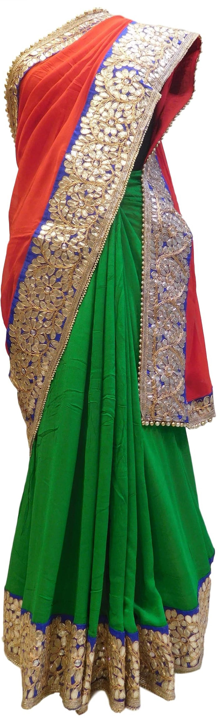 Bollywood Style Red & Green Gota Saree With Blue Border With Pearl Lace Sari