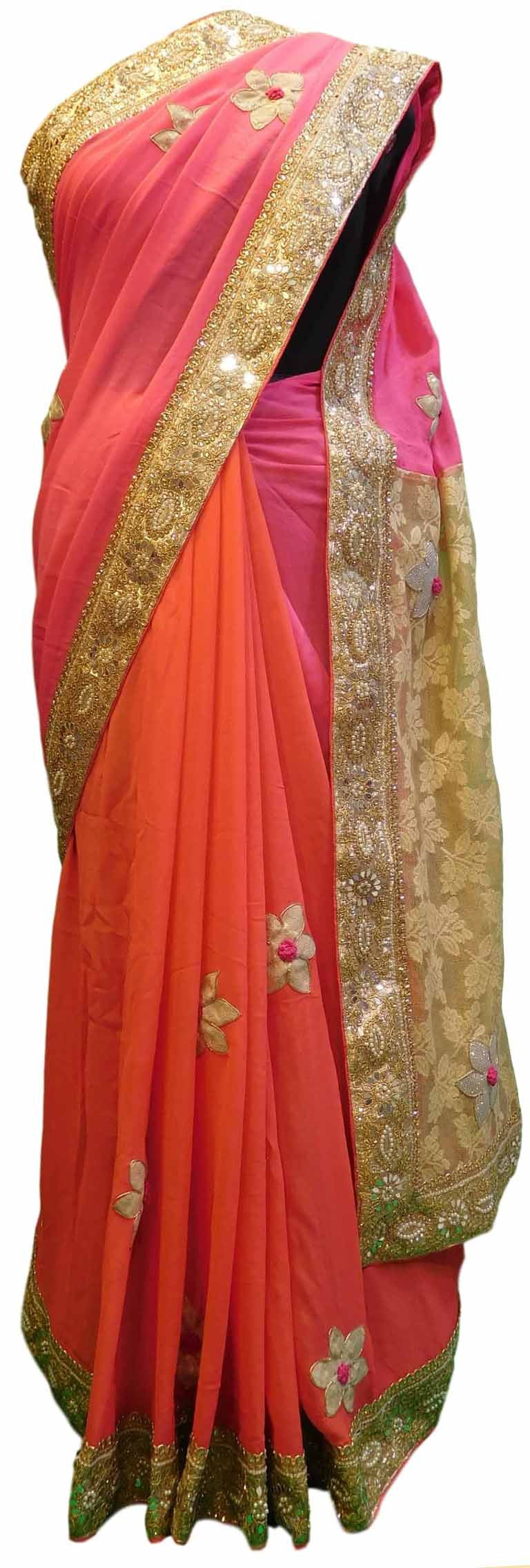 Pink Designer Georgette Sari Zari, Pearl, Mirror Thread Embroidery Work Saree
