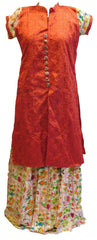 Red Designer Silk Kurti With White Rayon Printed Detachable Skirt