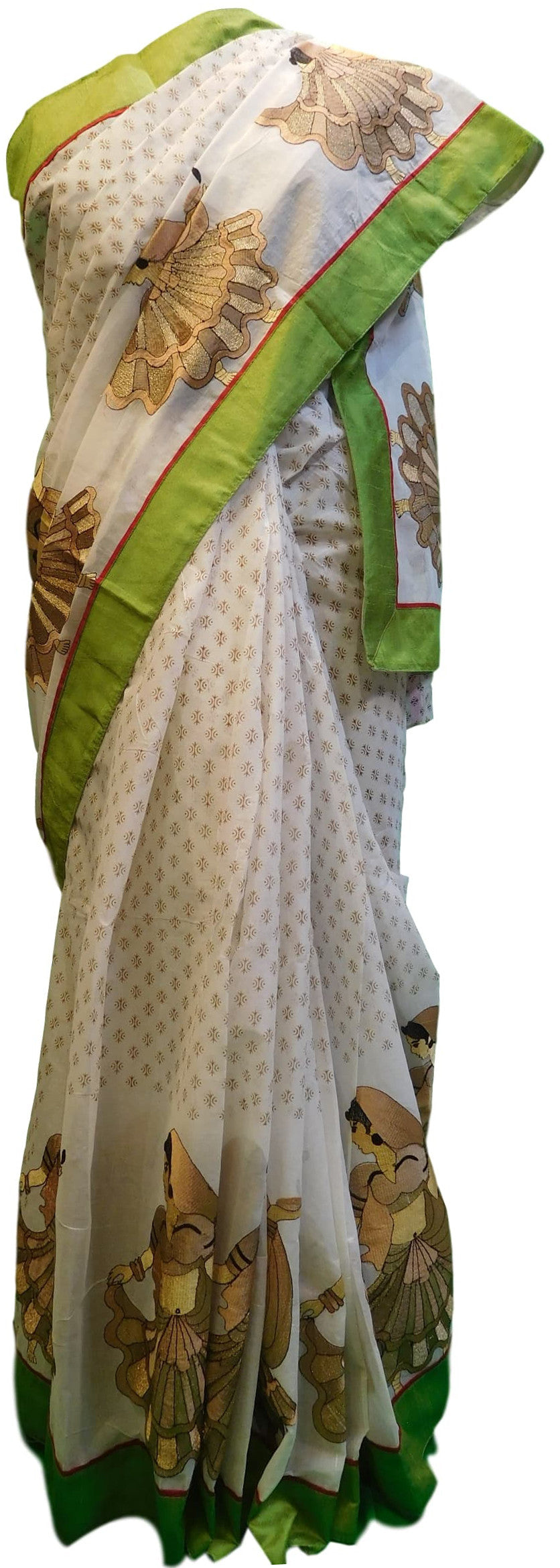 White Designer Pure Cotton Thread Embroidery Printed Sari Saree