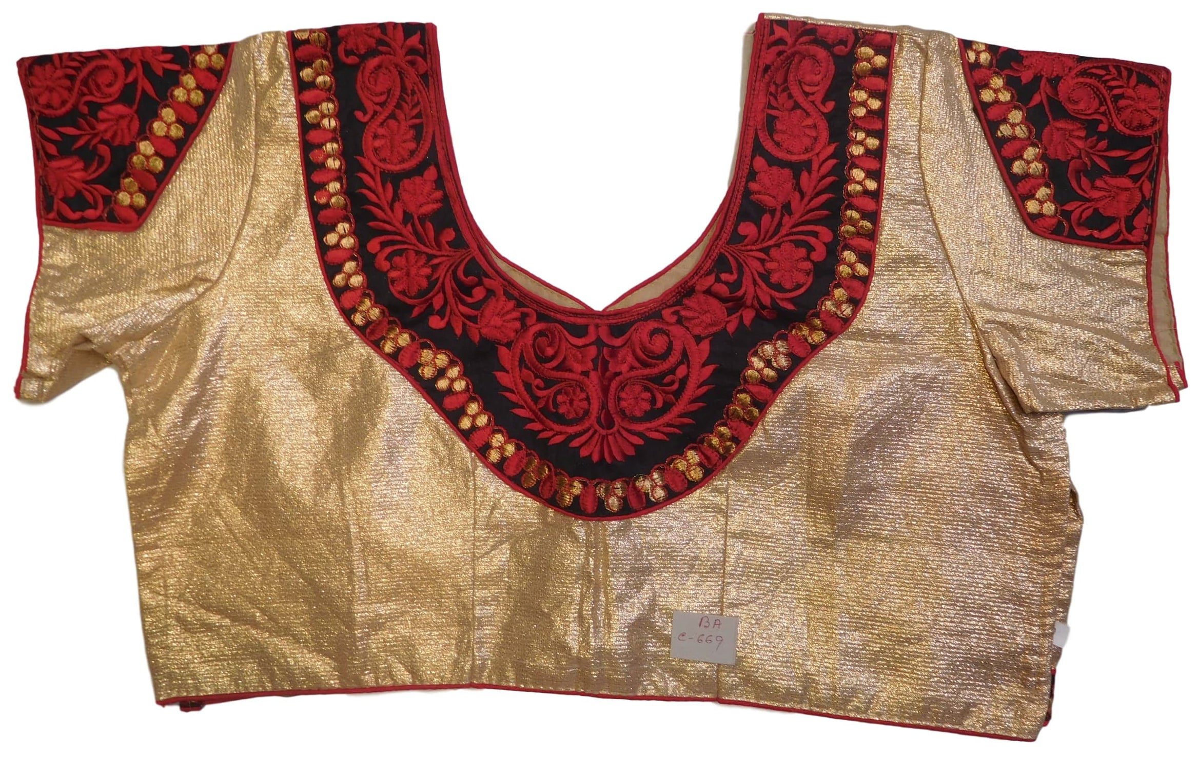 Golden Black Red Designer Brocade (Lama) Embroidery Zari Thread Work Ready To Wear Stitched Blouse
