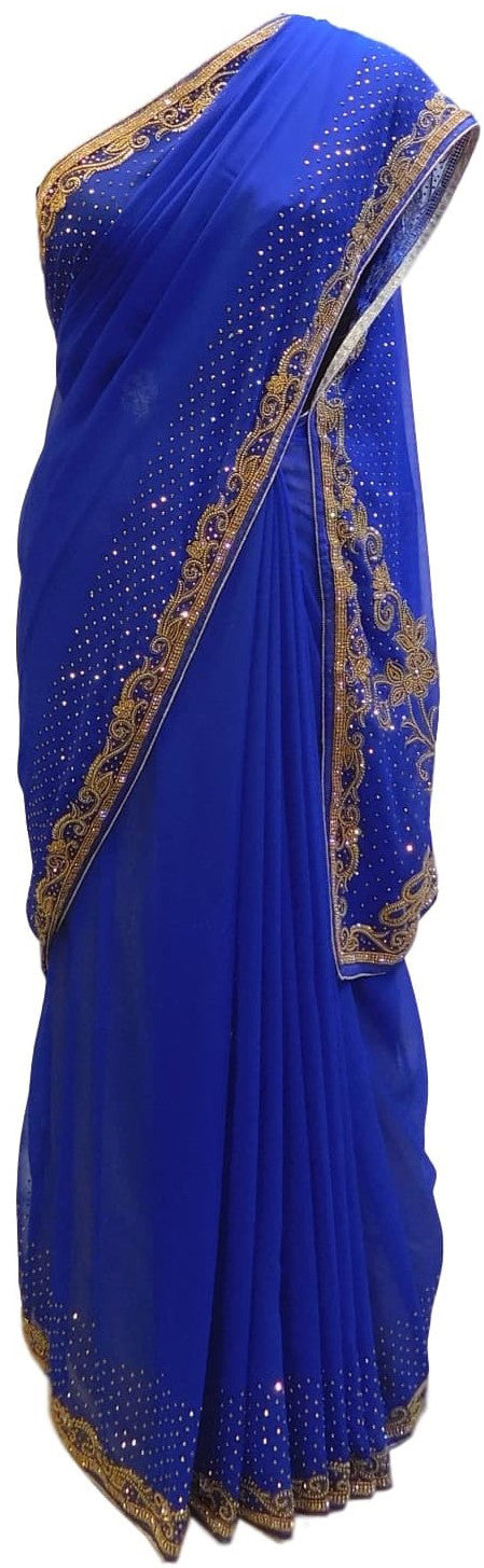 Blue Designer Gerogette (Synthetic) Hand Embroidery Stone Border Sari Saree