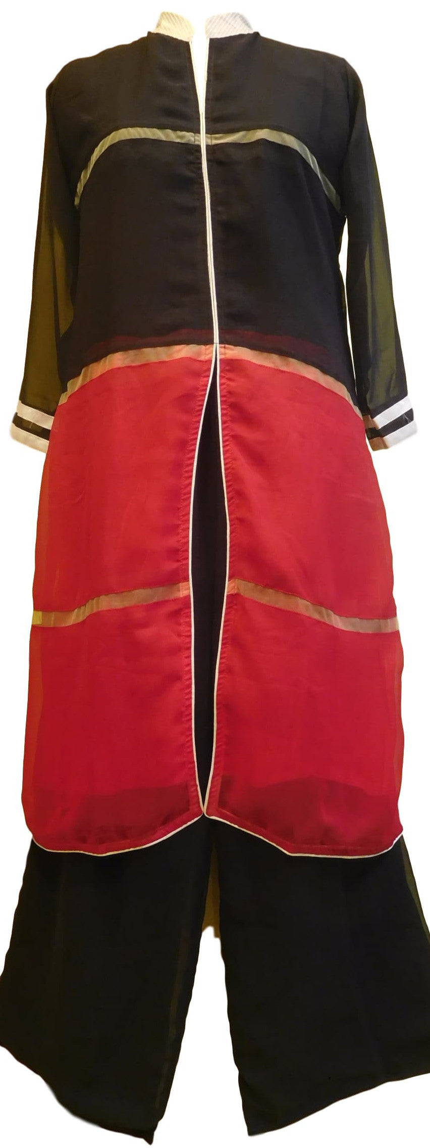 Red & Black Designer Cotton (Chanderi) Kurti