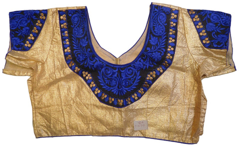 Golden Black Blue Designer Brocade (Lama) Embroidery Zari Thread Work Ready To Wear Stitched Blouse