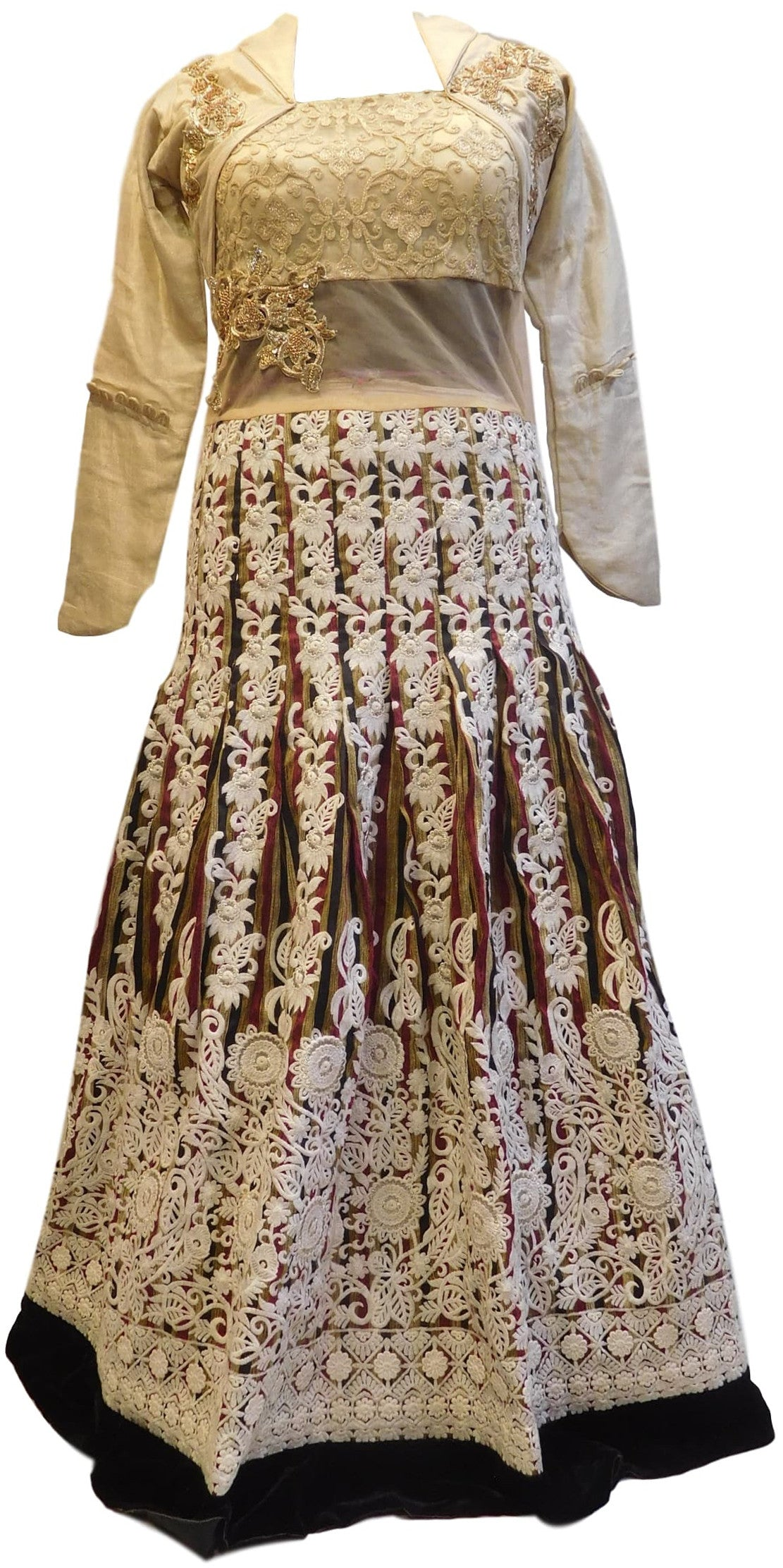 Cream Designer Zari, Hand Embroidery Work Kurti