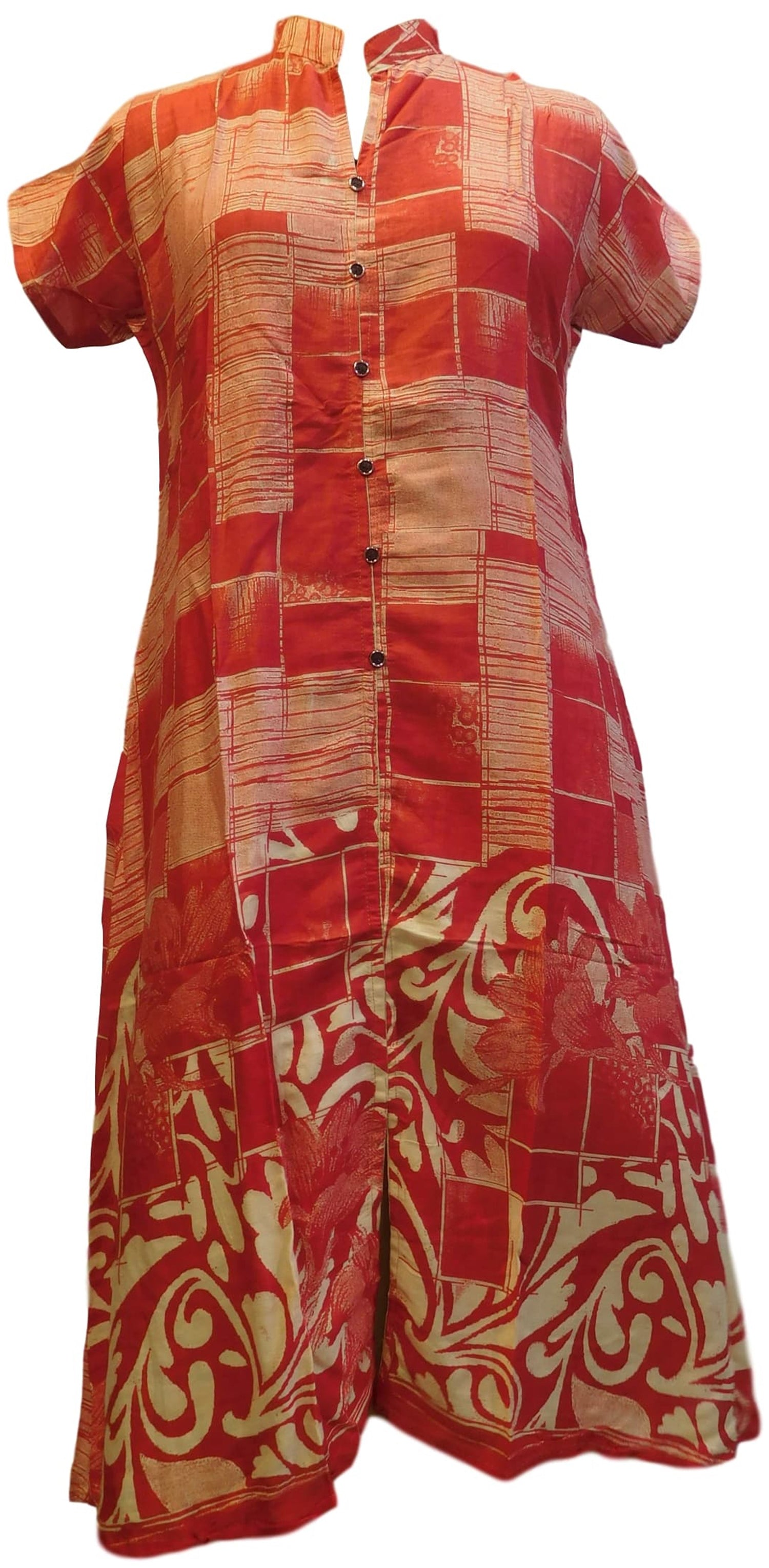 Red Designer Cotton Printed Kurti Kurta