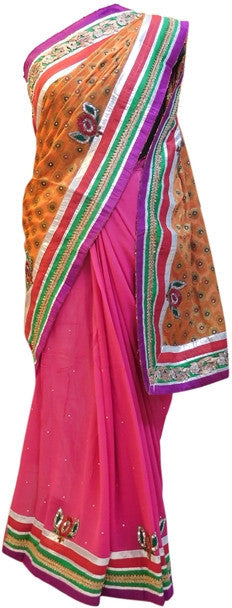 Orange & Pink Deisgner Pure Khaddi Saree