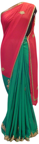 Red & Green Designer Saree