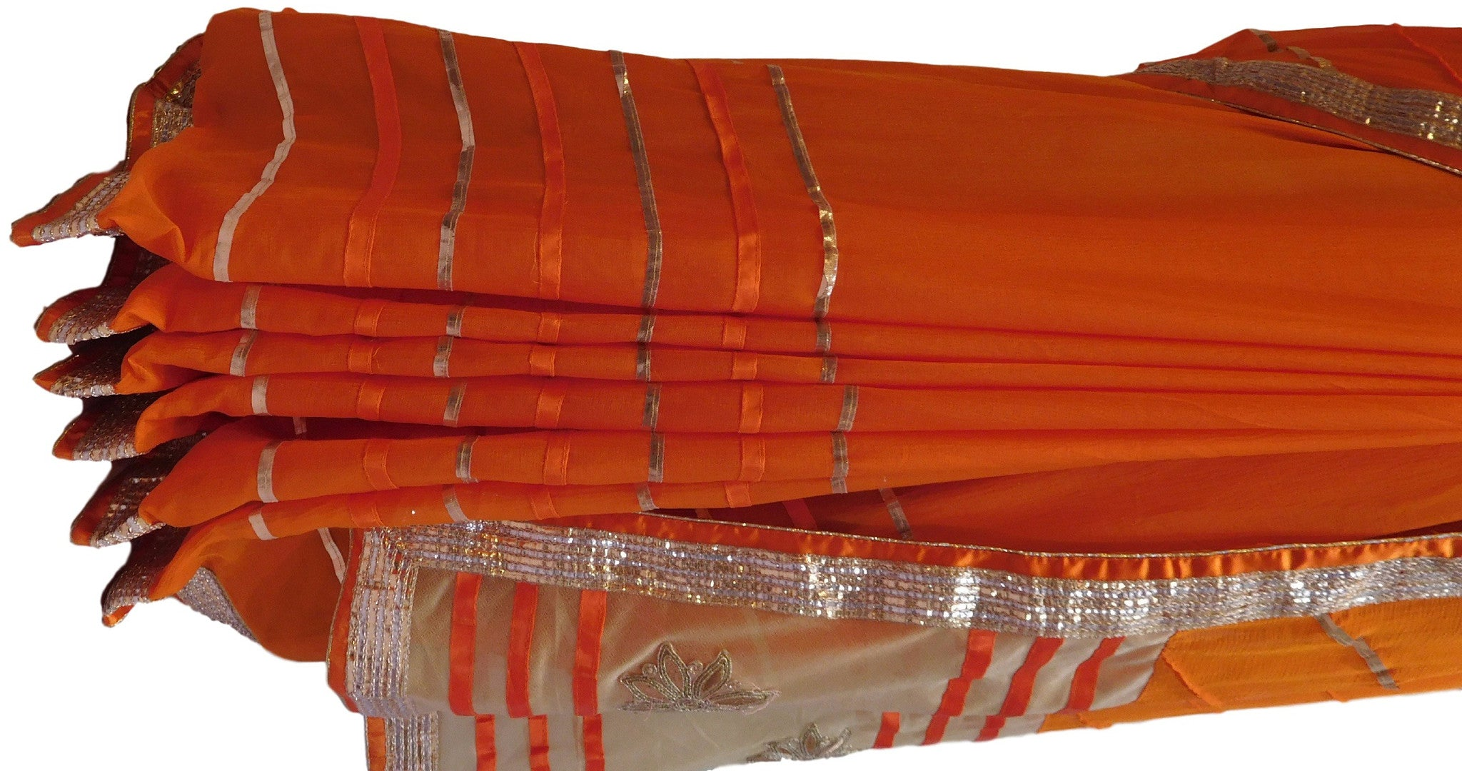 Orange Designer Chiffon Saree