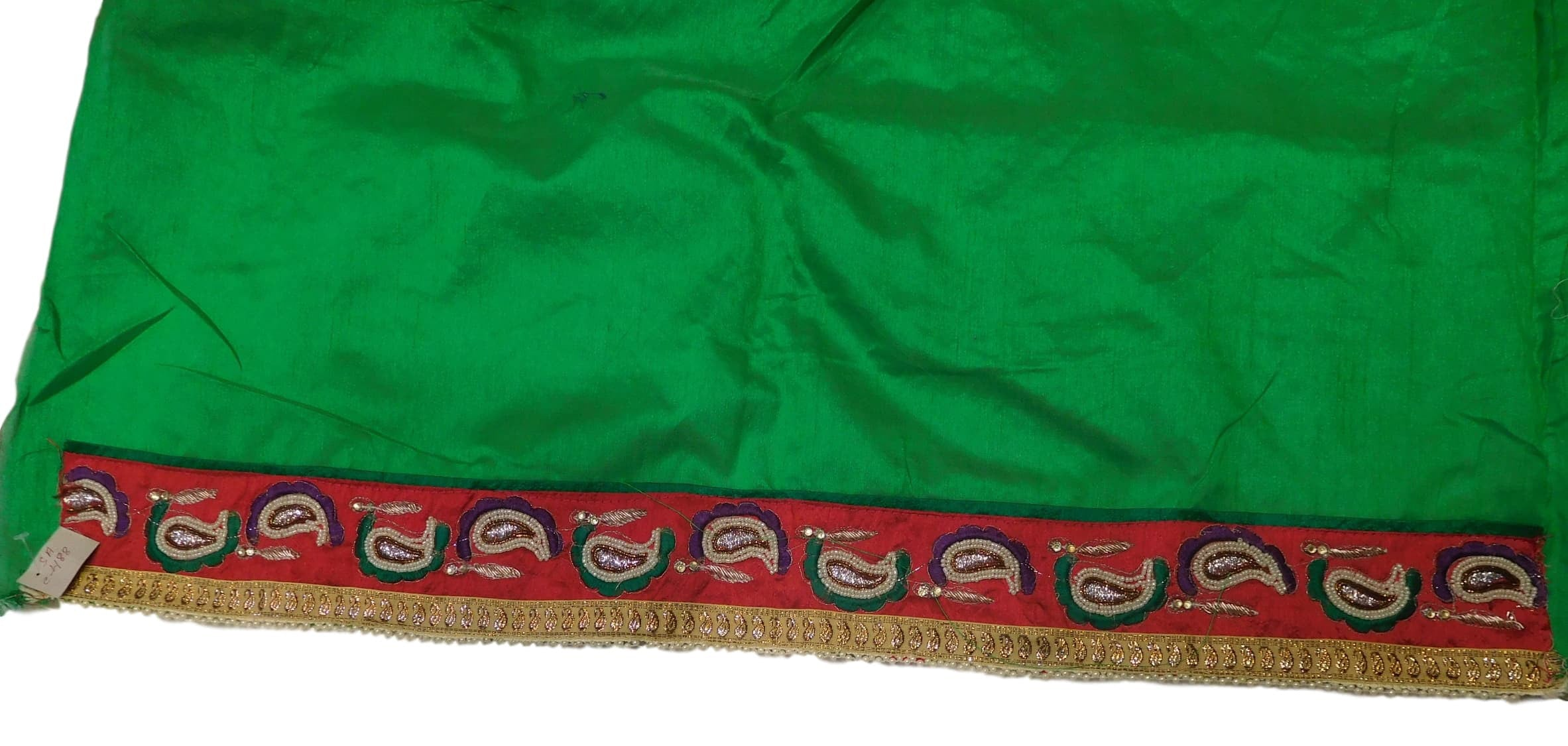 Pink, Green Designer Georgette & Net Hand Embroidery Work Saree Sari