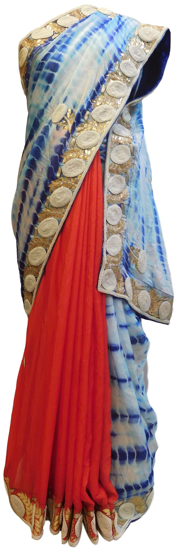 Blue White & Red Designer Crepe (Chinon) Hand Embroidery Thread Pearl Zari Gota Stone Work Saree Sari