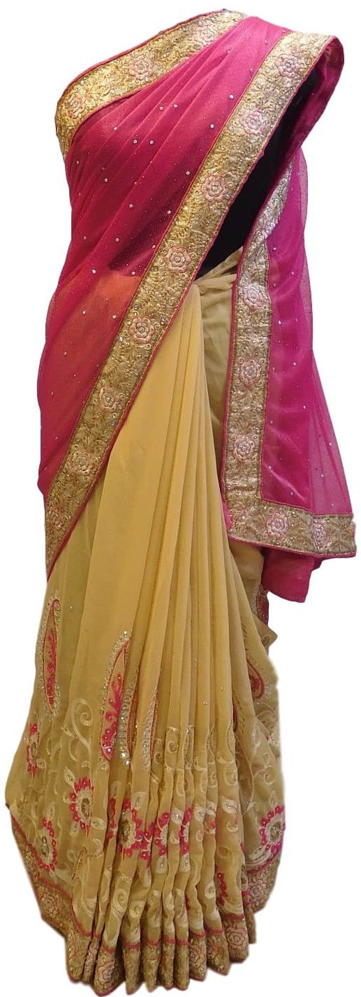 Pink & Beige Designer Gerogette (Synthetic) Hand Embroidery Stone Border Sari Saree
