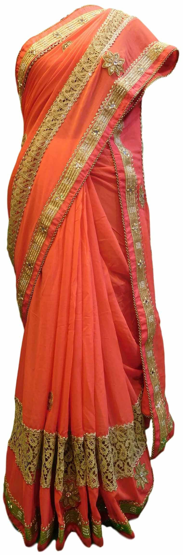 Pink Designer Georgette Sari Zari, Pearl Mirror Thread Embroidery Work Saree